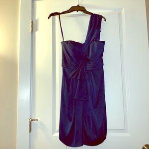 BCBG one shoulder midnight navy cocktail dress 6
